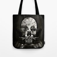 ali Tote Bags featuring Room Skull B&W by Ali GULEC