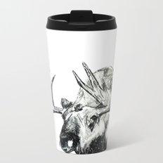 Moose Woodland Animal Snow Edit Pencil Sketch Metal Travel Mug