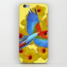 TROPICAL BLUE MACAW YELLOW HIBISCUS ART iPhone Skin