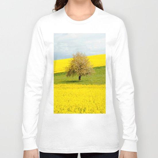 Tree in Yellow Field Long Sleeve T-shirt