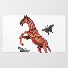 horse and butterfly Rug