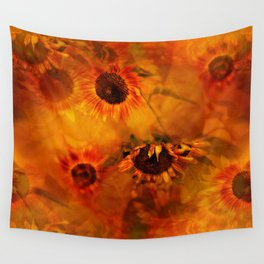 Autumn Playful Sunflowers Wall Tapestry