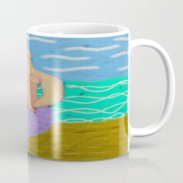 Purple Mermaid Abstract Digital Painting Coffee Mug