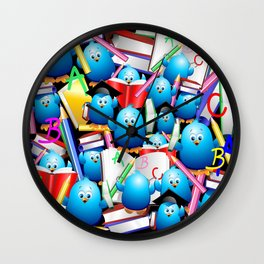 Back to School Cute Blue Birds Wall Clock