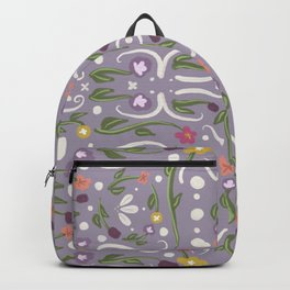 Light Purple Hand Painted Bohemian Flower Design Backpack