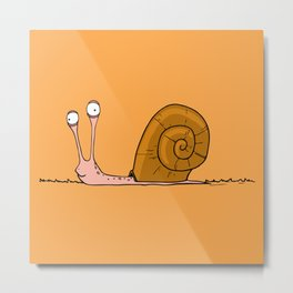 Funny snail with silly face expression Metal Print