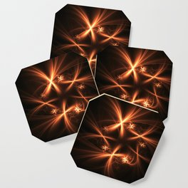 Orange abstract fractal as firework. Holiday theme. Coaster