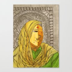 Woman in Yellow Scarf Canvas Print