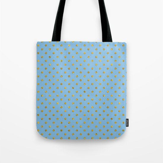 Gold polkadots on sky blue background Tote Bag
