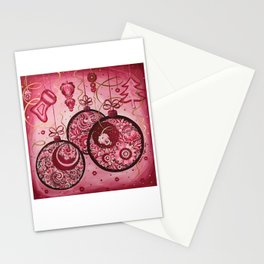 Winter holidays decorations in petrykivka style Stationery Cards