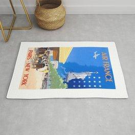 1951 Paris New York Air France Advertising Poster Rug