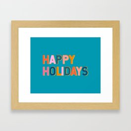 Colorful Happy Holidays Typography Framed Art Print