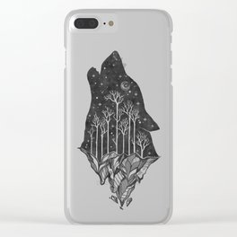 Adventure Wolf - Nature Mountains Wolves Howling Design Black on Pale Pink Clear iPhone Case