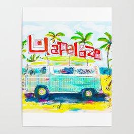 Lollapalooza Plaid Rad Beach Van Poster