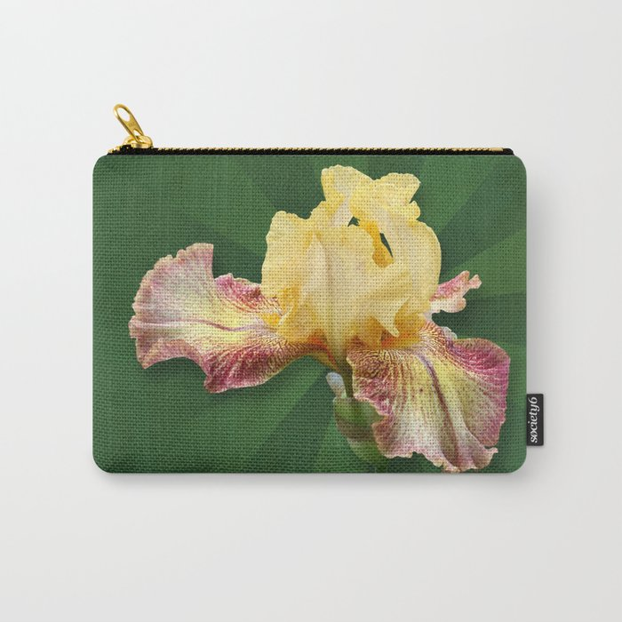 Yellow Iris Flowers on Radial Green Stripes Carry-All Pouch