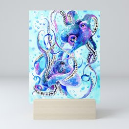 Octopus, Turquoise Blue aquatic Beach design Mini Art Print