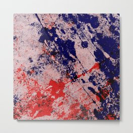 Hot And Cold - Textured Abstract In Blue, Red And Black Metal Print