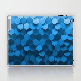 Blue hexagon abstract pattern Laptop & iPad Skin