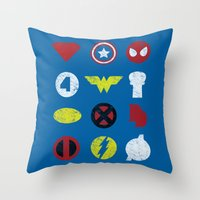 super heroes Throw Pillows featuring Super Simple Heroes by Resistance