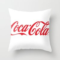 coca cola Throw Pillows featuring Coca Cola by ZenthDesigns