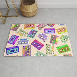 Retro 80's 90's Neon Patterned Cassette Tapes Rug