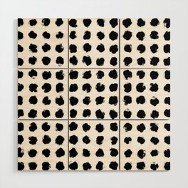 Black and White Minimal Minimalistic Polka Dots Brush Strokes Painting Wood Wall Art