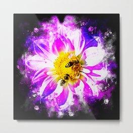 bees on flower splatter watercolor Metal Print