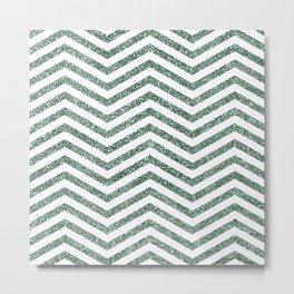 Green Glitter Chevron Metal Print
