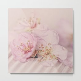 Romantic Soft Pink Peach Blossom Metal Print