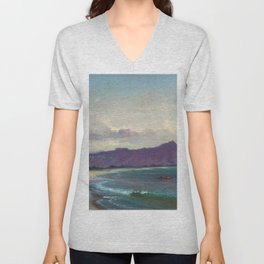 Diamond Head, Waikiki Beach, and Helumoa, Hawaii landscape painting by Charles Furneaux Unisex V-Neck