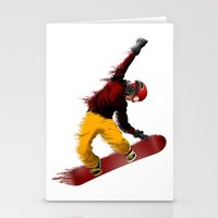 snowboarding Stationery Cards featuring Snowboarding by Boehm Graphics