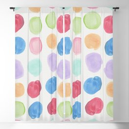 Colorful trendy colors large watercolor polka dots Blackout Curtain