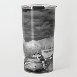 Ships at the harbor Travel Mug