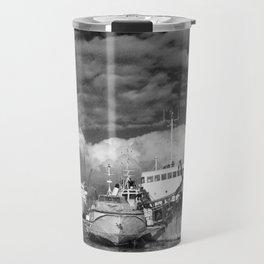 Ships at the harbor Travel Mug