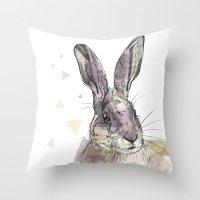 hare Throw Pillows featuring Hare by Anya Raczka