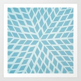 Light blue, diamond, mosaic pattern. Moroccan tile. Art Print