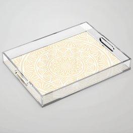 Pale Yellow Simple Simplistic Mandala Design Ethnic Tribal Pattern Acrylic Tray