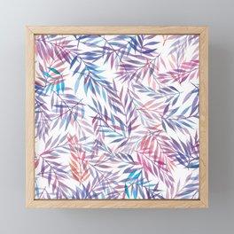 Watercolour Ferns   Sunset Colours Framed Mini Art Print