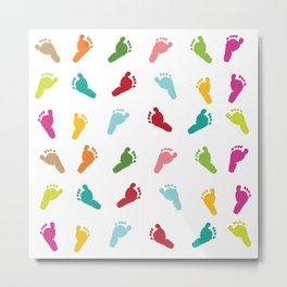 Colorful baby foot prints greeting card Metal Print
