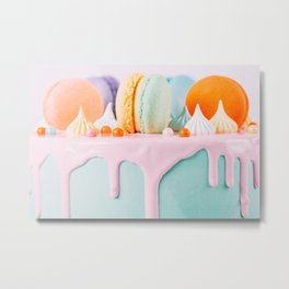 Colorful Macaron Birthday Cake And Sweet Candy Topping Metal Print