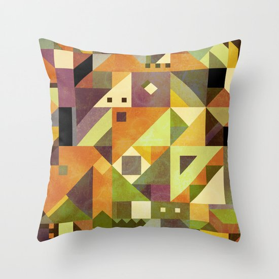 Abstract shapes background made of triangles in a square design Throw Pillow