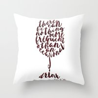 oscar wilde Throw Pillows featuring Drink - Oscar Wilde by Dianne Delahunty