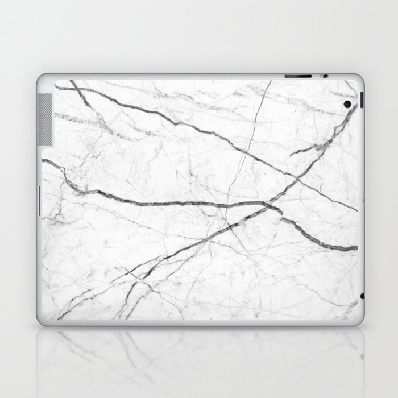 Preppy Minimalist Modern Chic Grey White Marble Laptop Ipad Skin