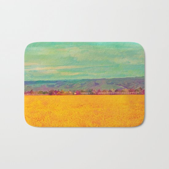 Teal Sky, Indigo Mountains, Mustard Plants, Colorful Houses Bath Mat