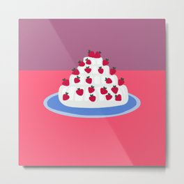 Strawberries and cream cake Metal Print