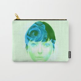 Roses - Blue on Green Carry-All Pouch