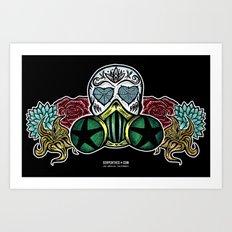 Gasmask Sugar Skull Art Print