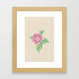Rose cross stitch Framed Art Print