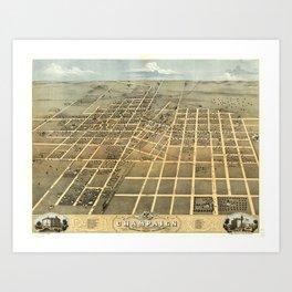 Vintage Pictorial Map of Champaign IL (1869) Art Print