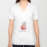 "ponyo V-neck T-shirts featuring Small Ponyo ""Chi-bi-po"" by Masaki IINUMA"
